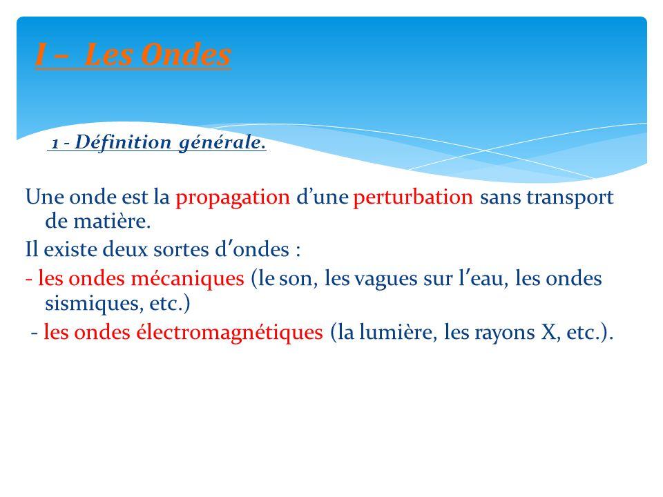 I – Les Ondes 1 - Définition générale. Une onde est la propagation d'une perturbation sans transport de matière.