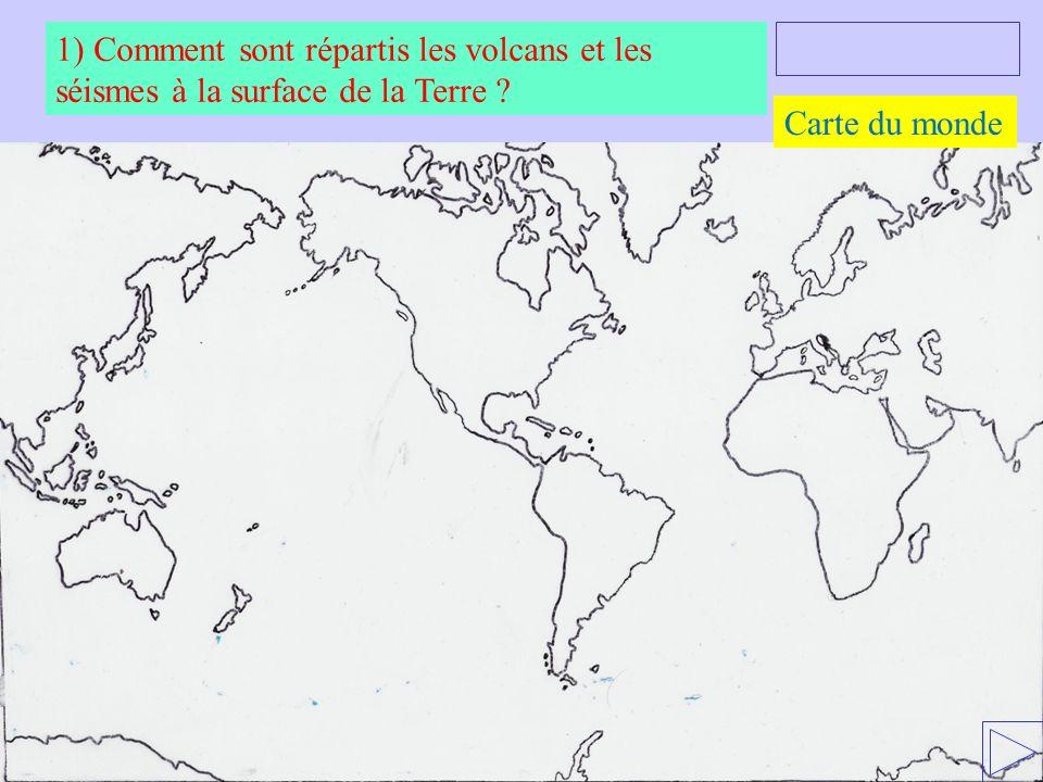 1) Comment sont répartis les volcans et les séismes à la surface de la Terre