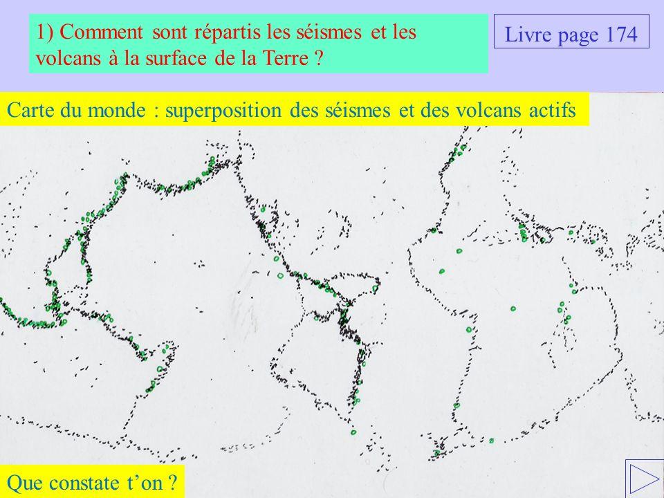 Carte du monde : superposition des séismes et des volcans actifs