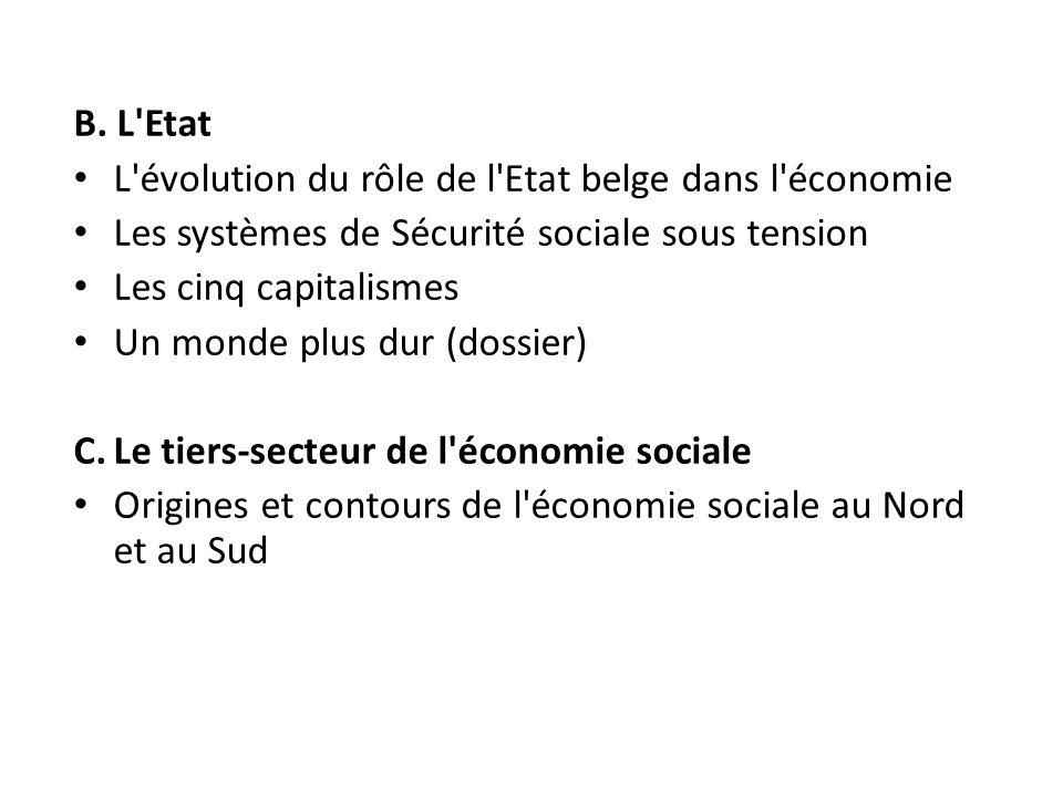 B. L Etat L évolution du rôle de l Etat belge dans l économie. Les systèmes de Sécurité sociale sous tension.