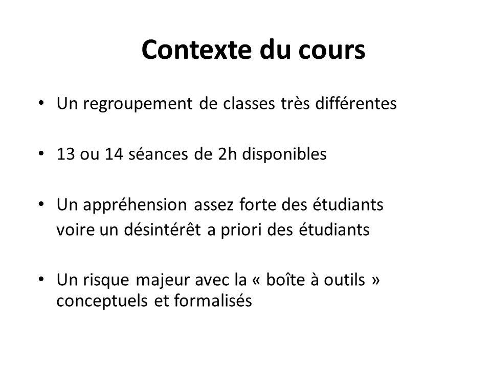 Contexte du cours Un regroupement de classes très différentes