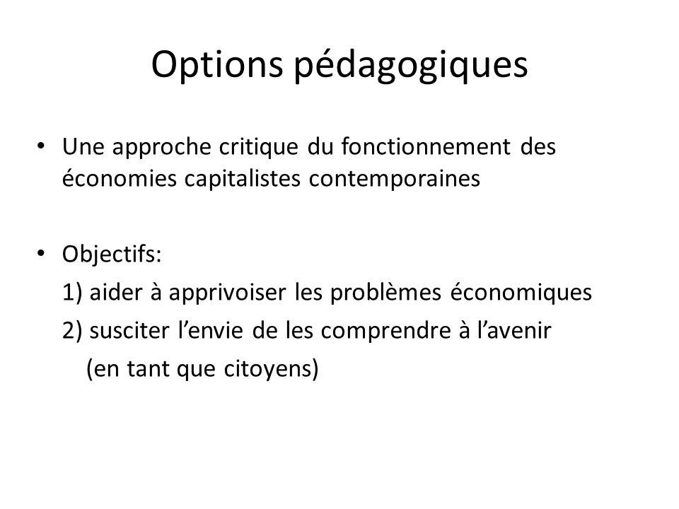 Options pédagogiques Une approche critique du fonctionnement des économies capitalistes contemporaines.