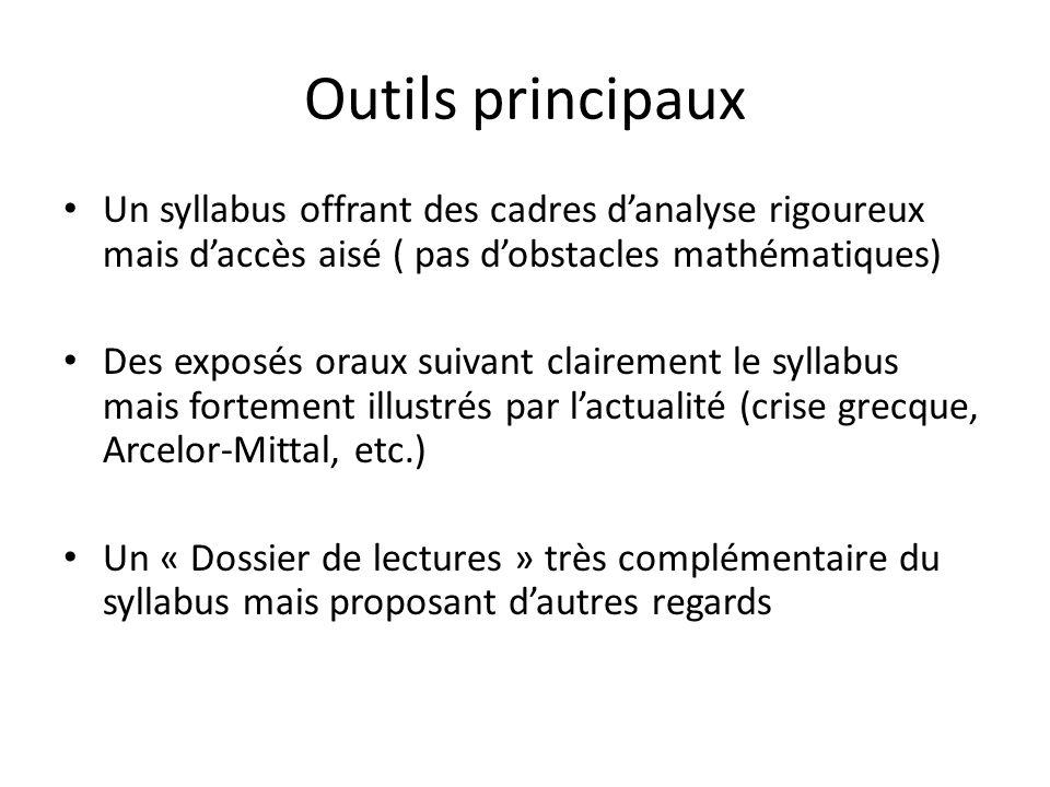 Outils principaux Un syllabus offrant des cadres d'analyse rigoureux mais d'accès aisé ( pas d'obstacles mathématiques)