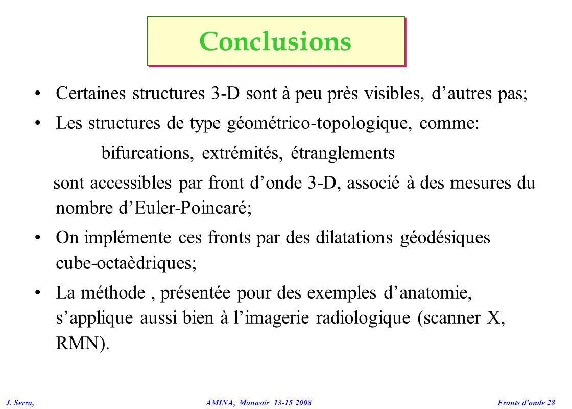 Conclusions Certaines structures 3-D sont à peu près visibles, d'autres pas; Les structures de type géométrico-topologique, comme: