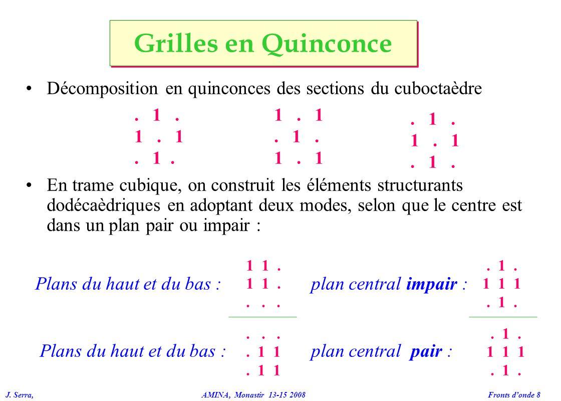 Grilles en Quinconce Décomposition en quinconces des sections du cuboctaèdre.