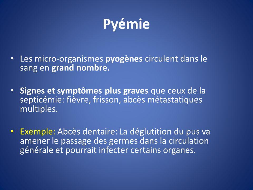 Pyémie Les micro-organismes pyogènes circulent dans le sang en grand nombre.