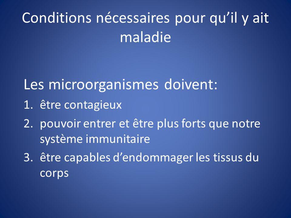 Conditions nécessaires pour qu'il y ait maladie