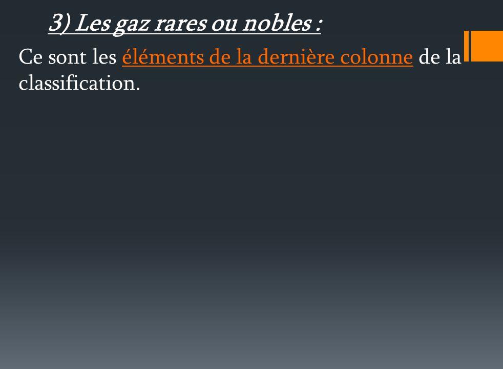 3) Les gaz rares ou nobles :