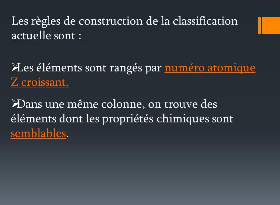 Les règles de construction de la classification actuelle sont :