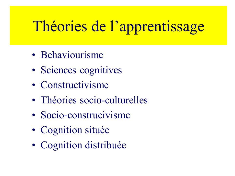 Théories de l'apprentissage