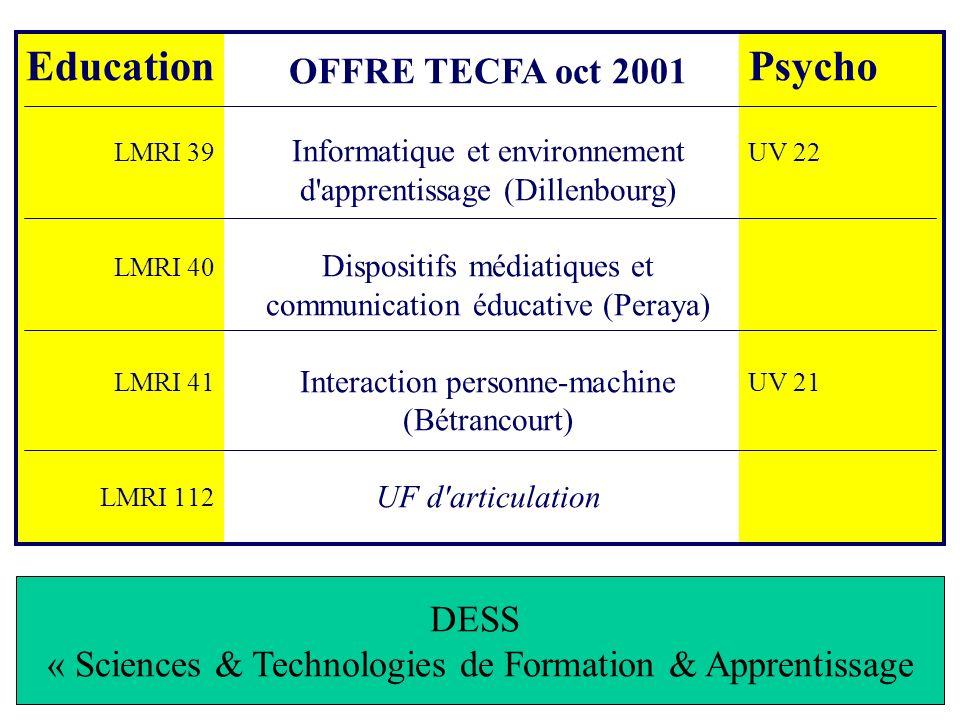 Education Psycho OFFRE TECFA oct 2001 DESS