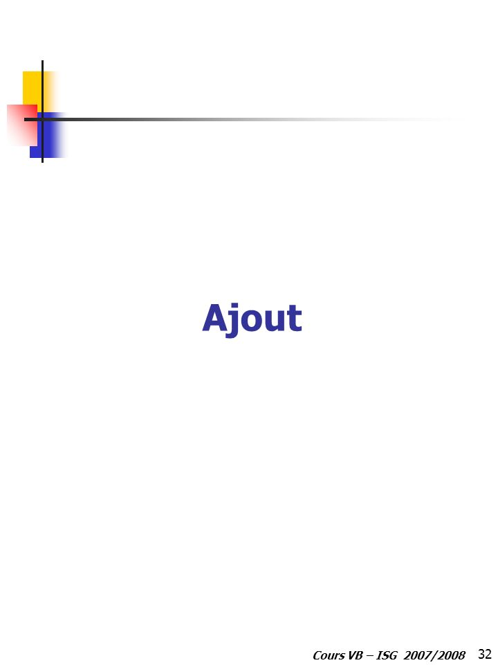 Ajout Cours VB – ISG 2007/2008