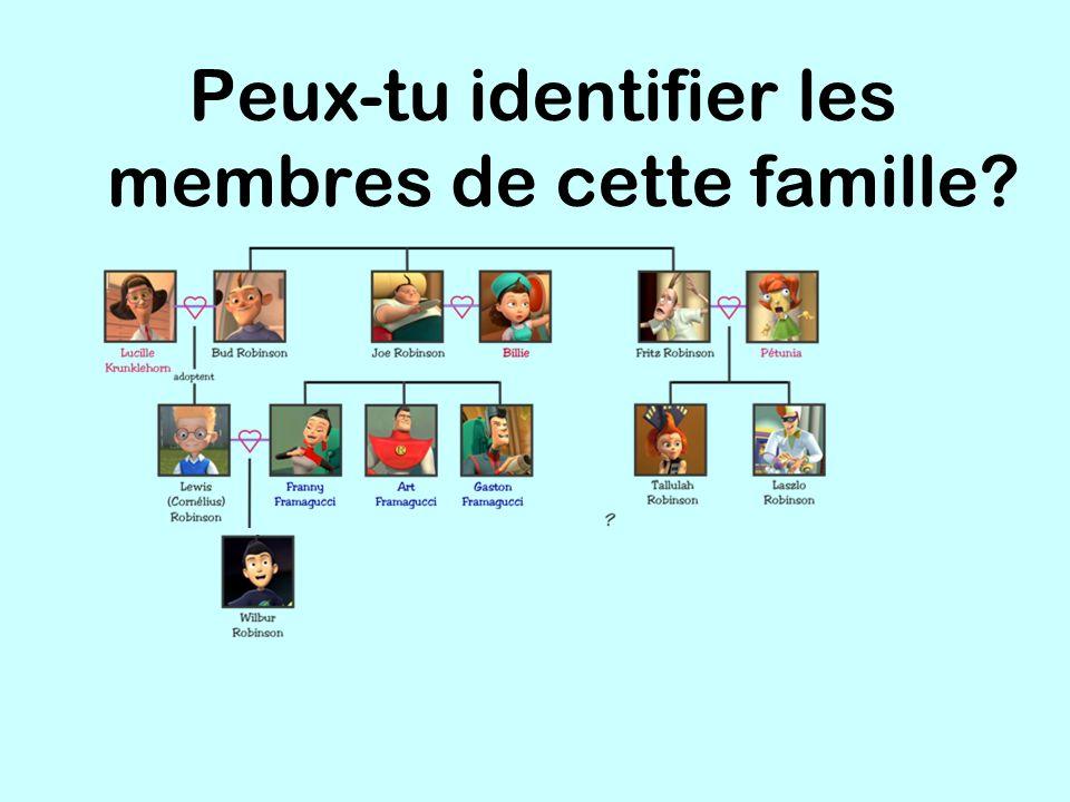 Peux-tu identifier les membres de cette famille