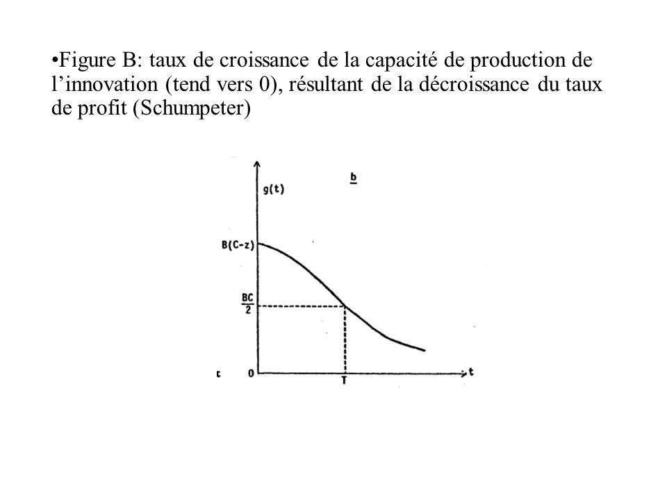 Figure B: taux de croissance de la capacité de production de l'innovation (tend vers 0), résultant de la décroissance du taux de profit (Schumpeter)
