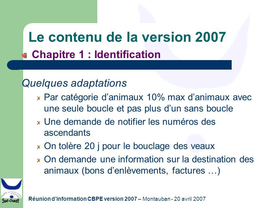 Le contenu de la version 2007