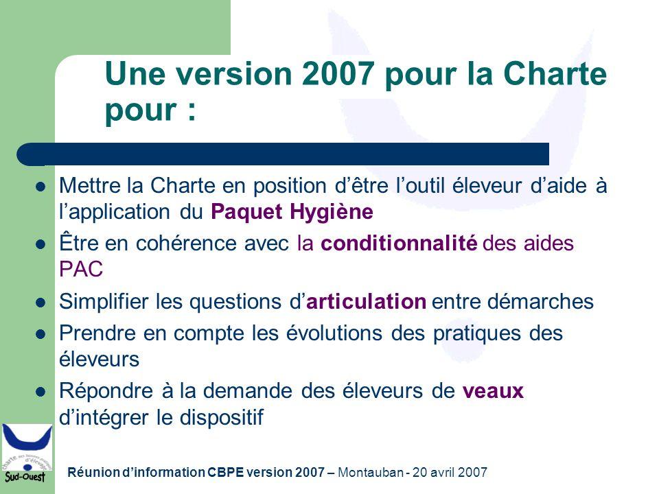 Une version 2007 pour la Charte pour :
