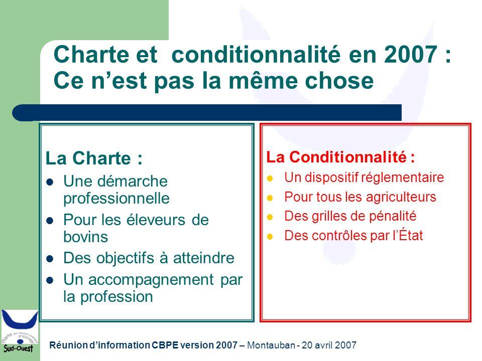 Charte et conditionnalité en 2007 : Ce n'est pas la même chose