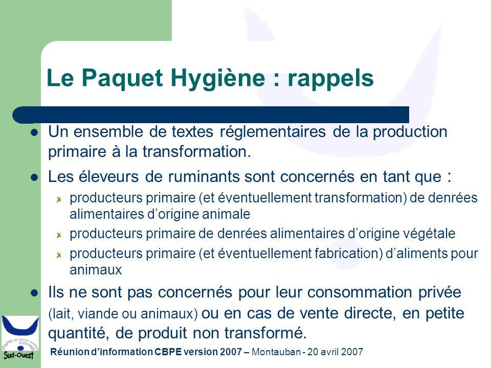 Le Paquet Hygiène : rappels