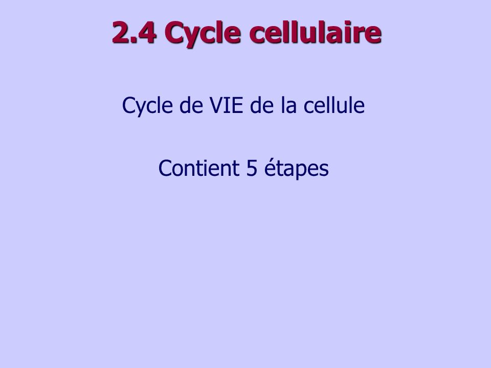 Cycle de VIE de la cellule