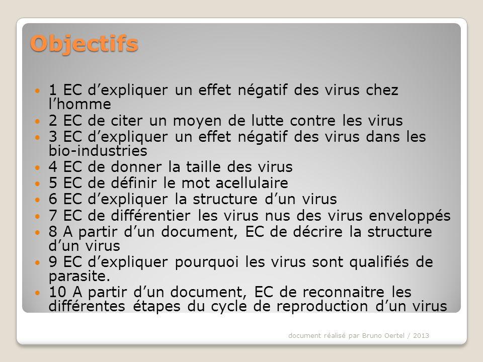 Objectifs 1 EC d'expliquer un effet négatif des virus chez l'homme