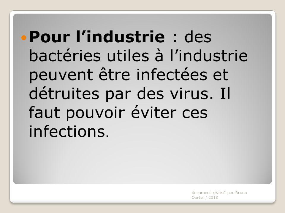 Pour l'industrie : des bactéries utiles à l'industrie peuvent être infectées et détruites par des virus. Il faut pouvoir éviter ces infections.