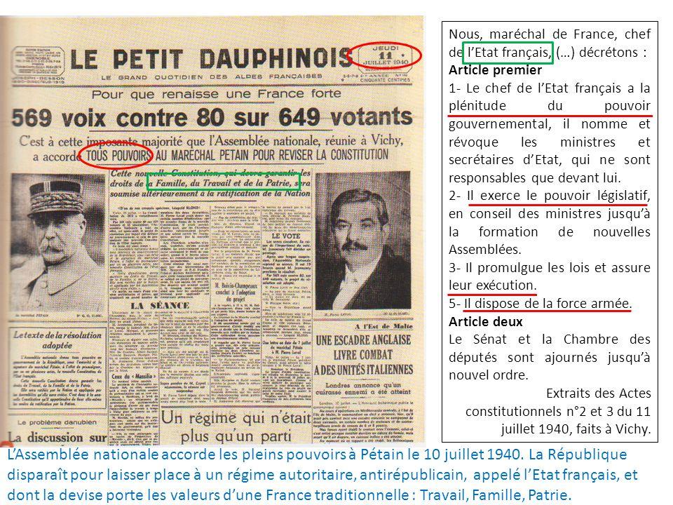 Nous, maréchal de France, chef de l'Etat français, (…) décrétons :