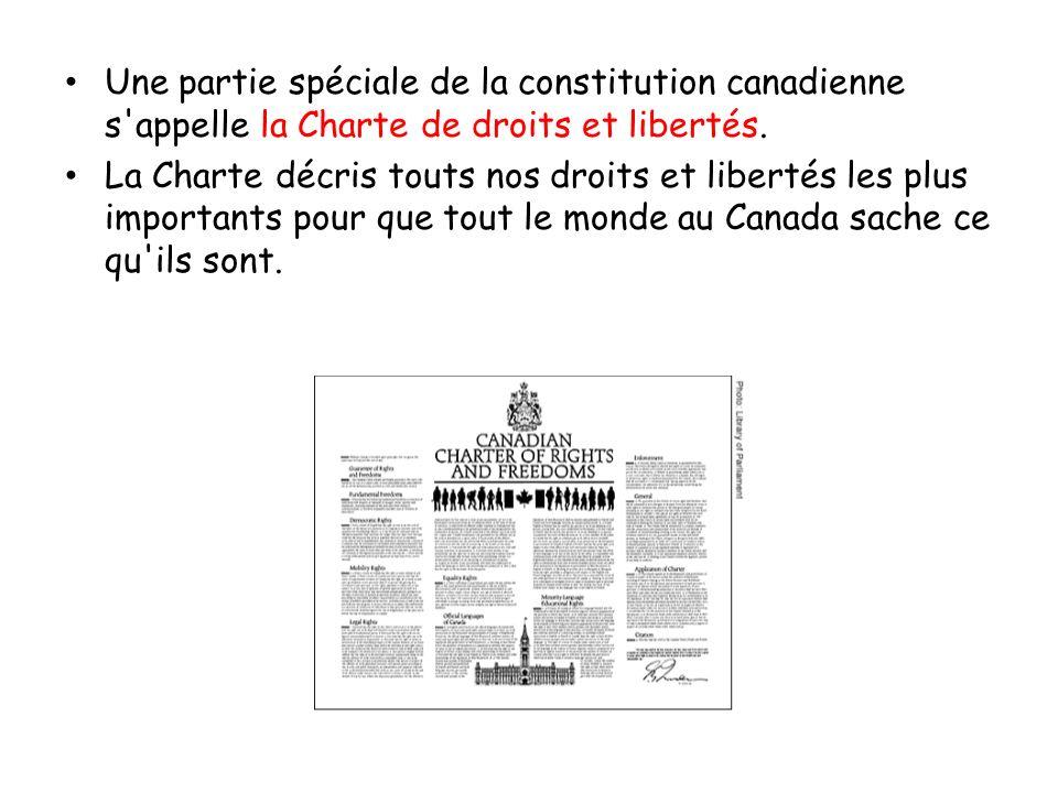 Une partie spéciale de la constitution canadienne s appelle la Charte de droits et libertés.