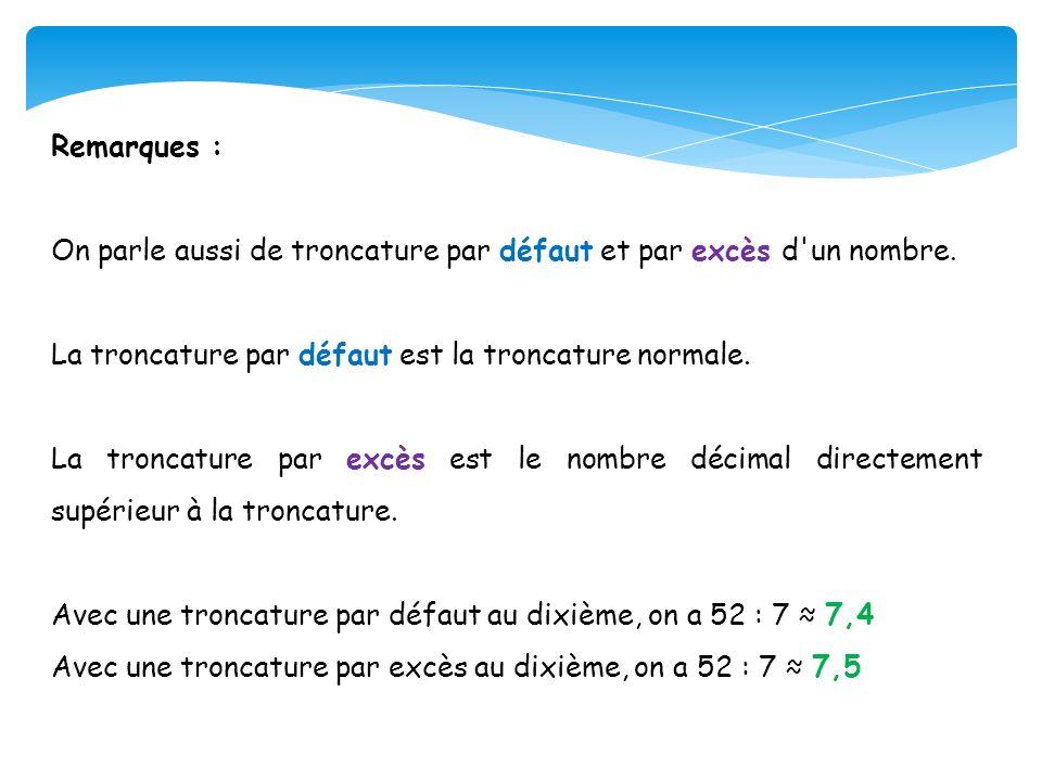 Remarques : On parle aussi de troncature par défaut et par excès d un nombre. La troncature par défaut est la troncature normale.