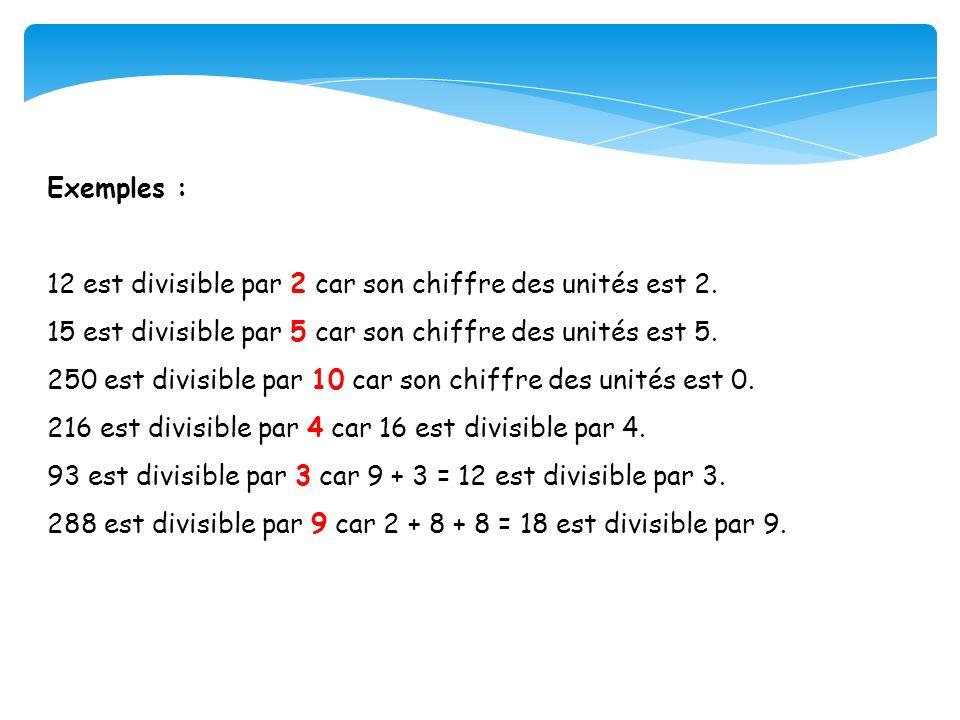 Exemples : 12 est divisible par 2 car son chiffre des unités est 2. 15 est divisible par 5 car son chiffre des unités est 5.
