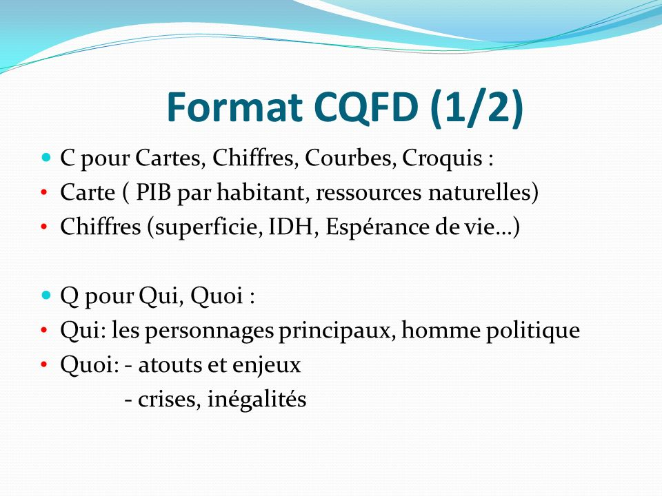 Format CQFD (1/2) C pour Cartes, Chiffres, Courbes, Croquis :