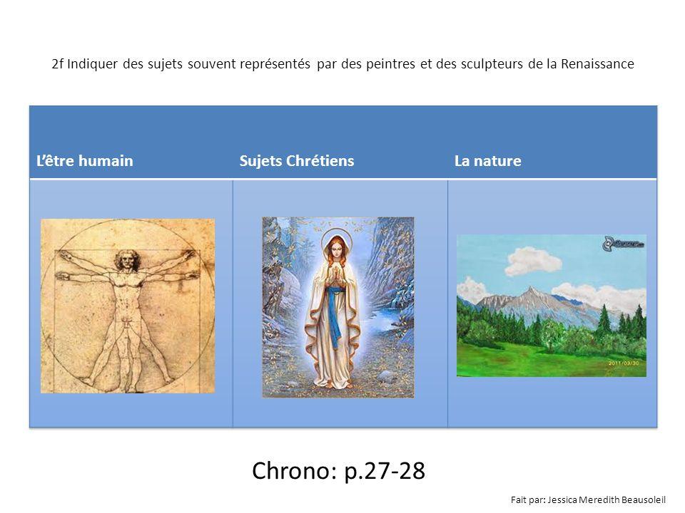Chrono: p.27-28 L'être humain Sujets Chrétiens La nature