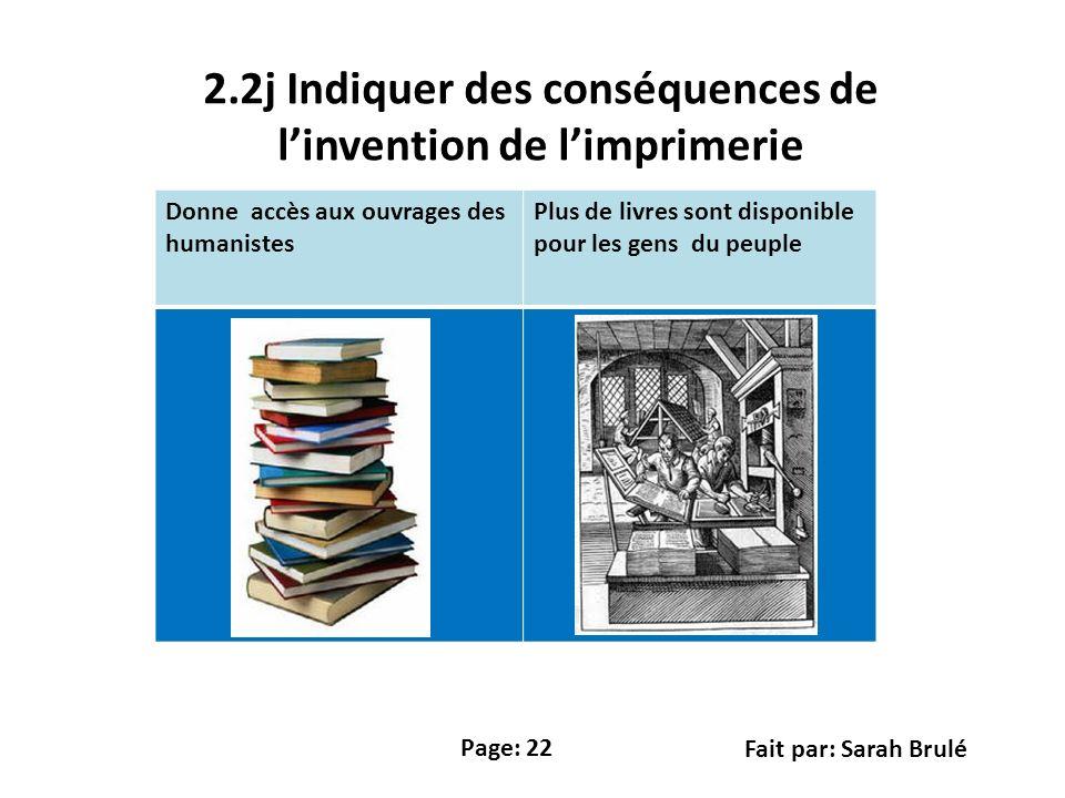 2.2j Indiquer des conséquences de l'invention de l'imprimerie