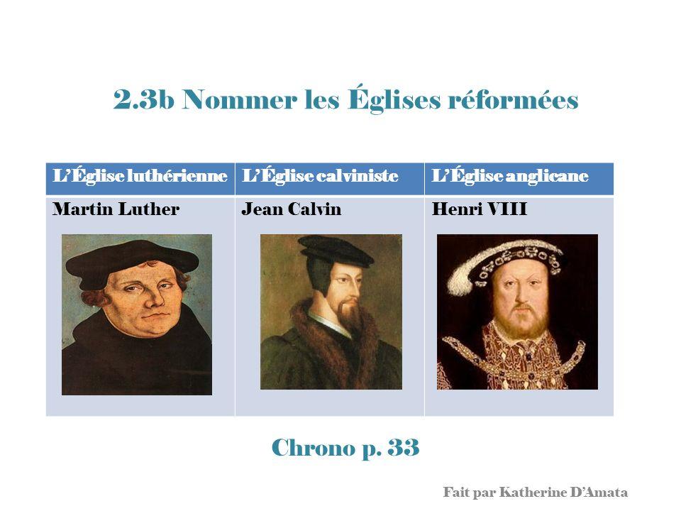 2.3b Nommer les Églises réformées