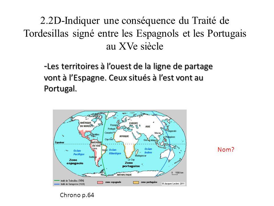2.2D-Indiquer une conséquence du Traité de Tordesillas signé entre les Espagnols et les Portugais au XVe siècle