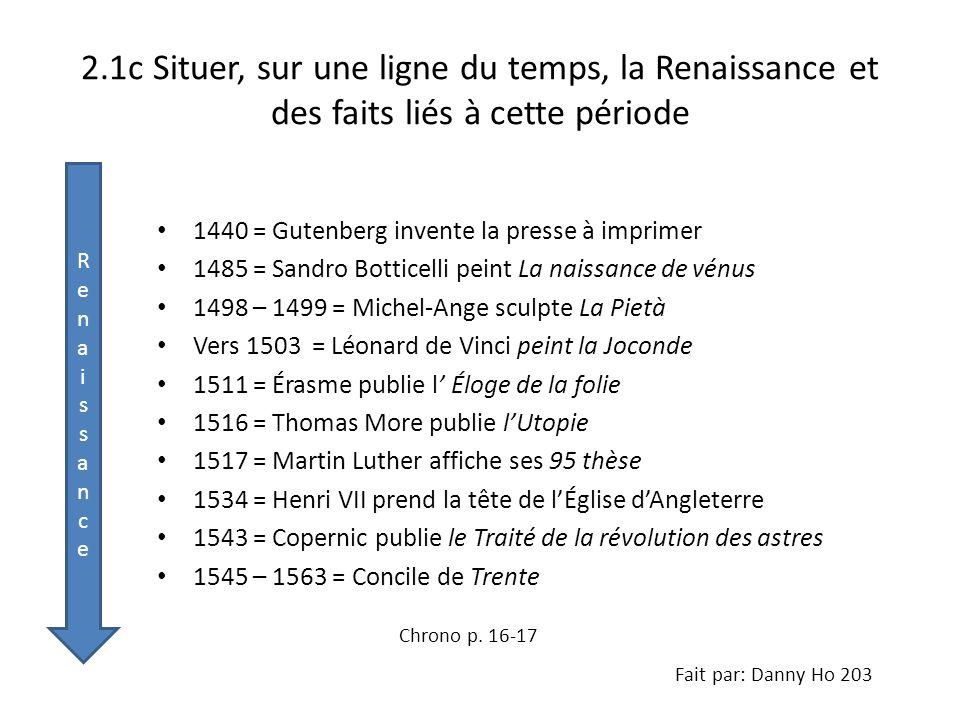 2.1c Situer, sur une ligne du temps, la Renaissance et des faits liés à cette période