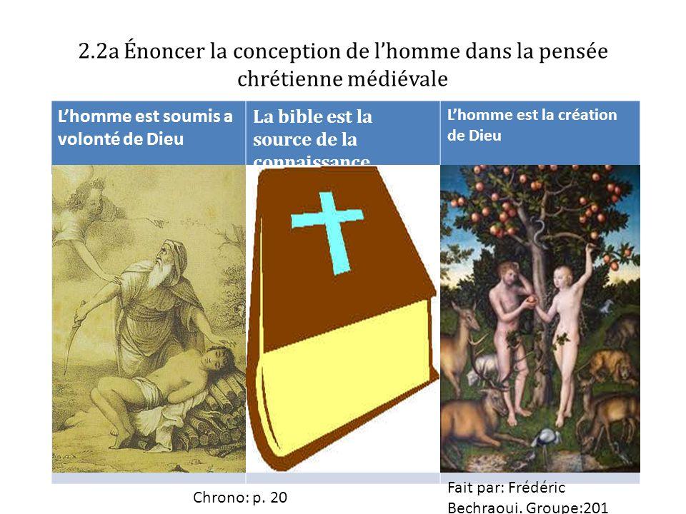 2.2a Énoncer la conception de l'homme dans la pensée chrétienne médiévale