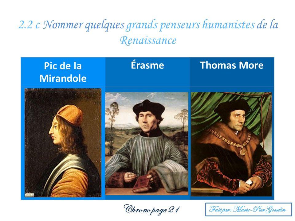 2.2 c Nommer quelques grands penseurs humanistes de la Renaissance
