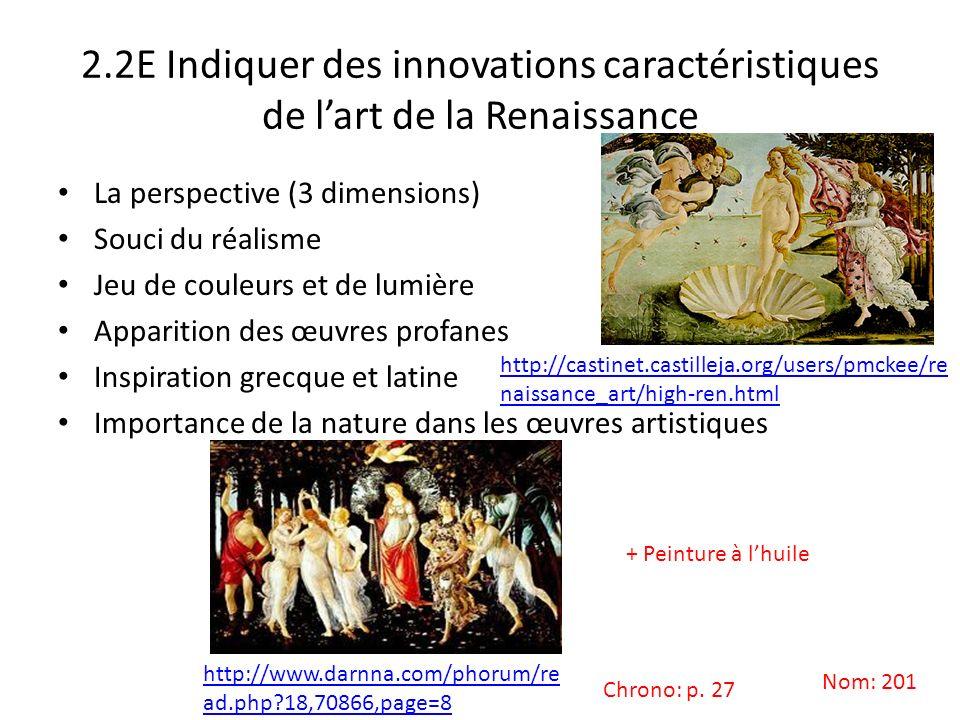 2.2E Indiquer des innovations caractéristiques de l'art de la Renaissance