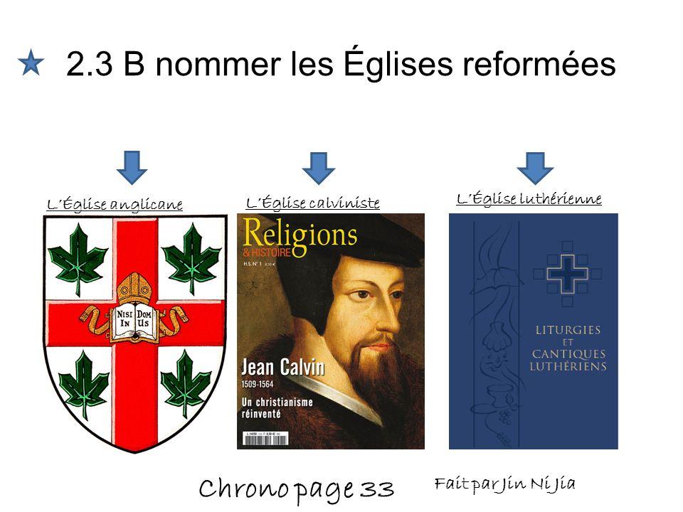 2.3 B nommer les Églises reformées