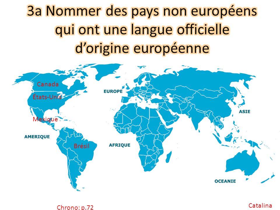 3a Nommer des pays non européens qui ont une langue officielle d'origine européenne