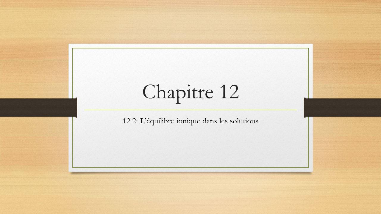 12.2: L'équilibre ionique dans les solutions