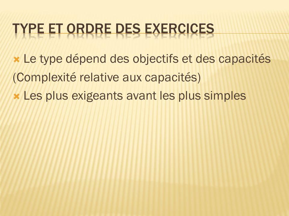 Type et ordre des exercices