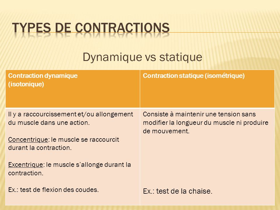 Types de contractions Dynamique vs statique Ex.: test de la chaise.