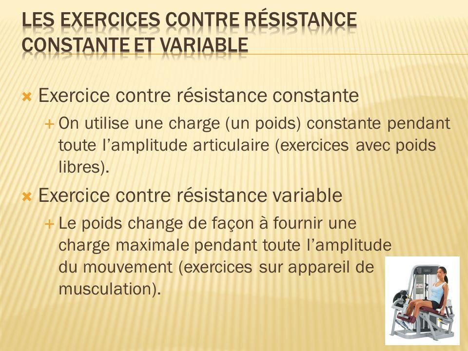 Les exercices contre résistance constante et variable