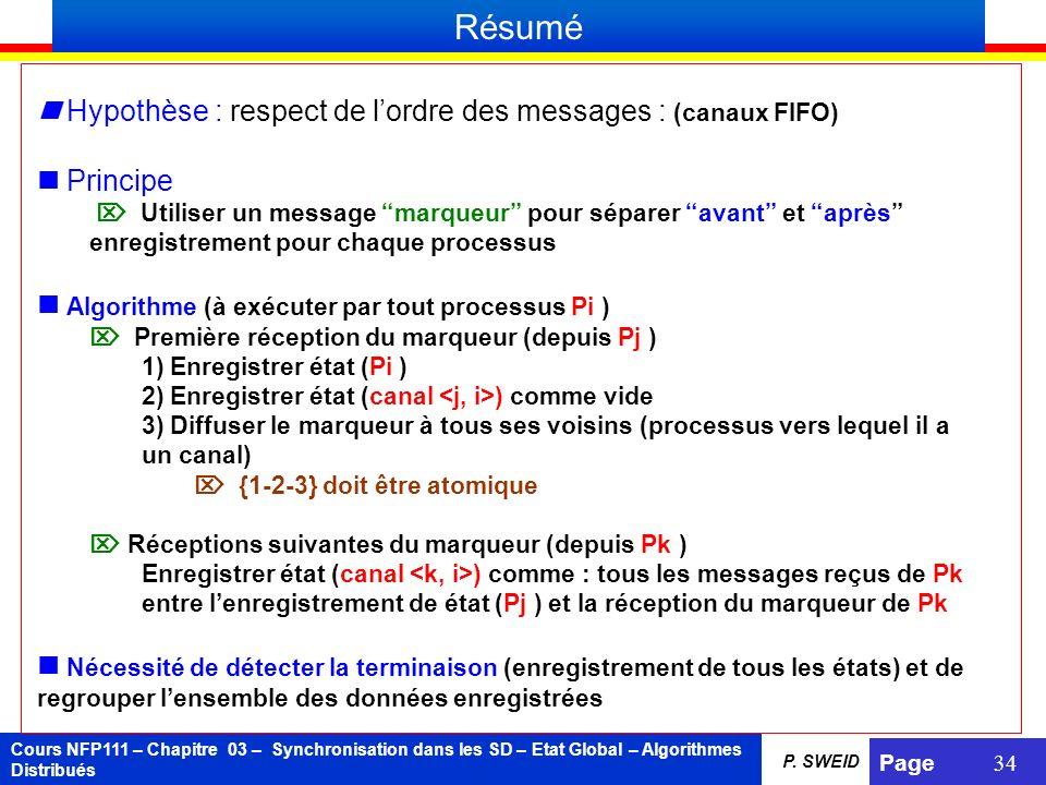 Résumé  Hypothèse : respect de l'ordre des messages : (canaux FIFO)