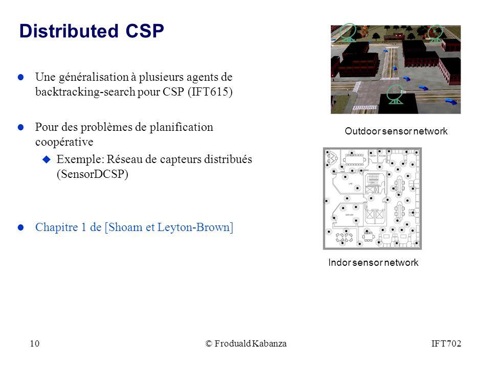 Distributed CSP Une généralisation à plusieurs agents de backtracking-search pour CSP (IFT615) Pour des problèmes de planification coopérative.