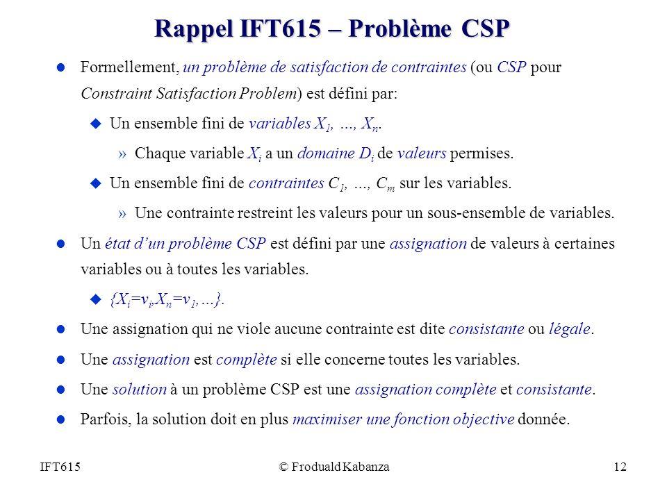 Rappel IFT615 – Problème CSP