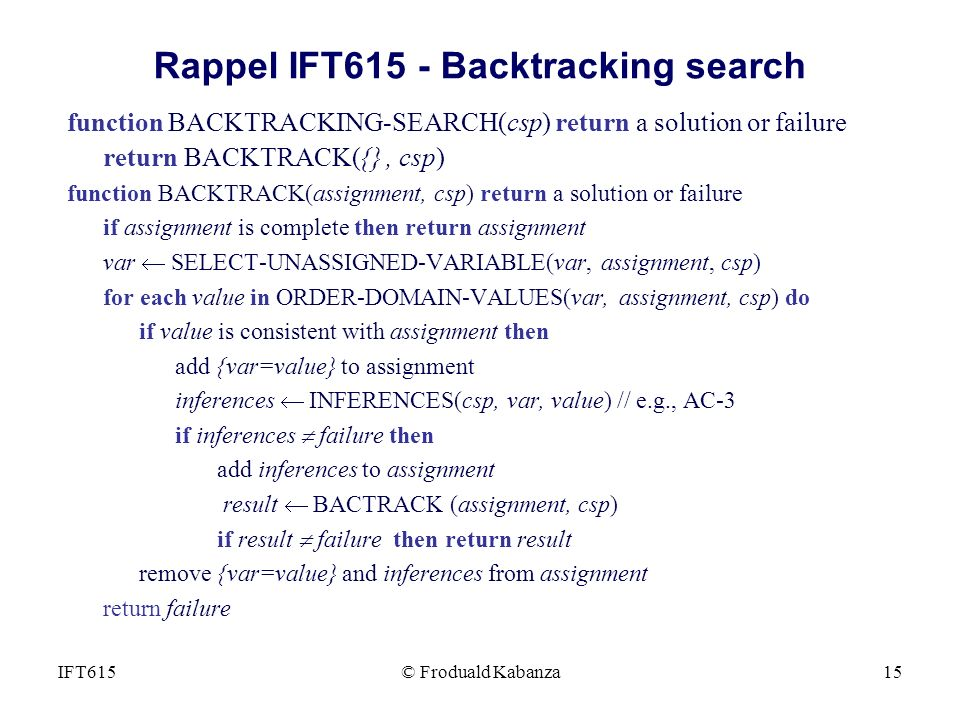 Rappel IFT615 - Backtracking search