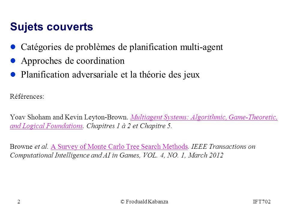 Sujets couverts Catégories de problèmes de planification multi-agent