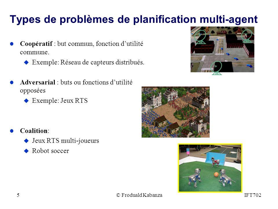 Types de problèmes de planification multi-agent